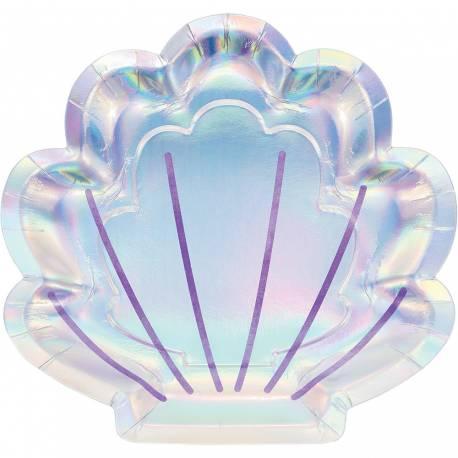 8 Assiettes en forme de coquillages en carton sirène shine pour une décoration de table d'anniversaire Métallisé et...