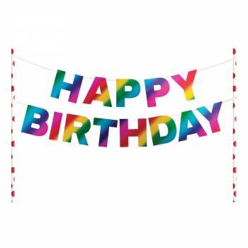 Cake topper Happy Birthday rainbow foil