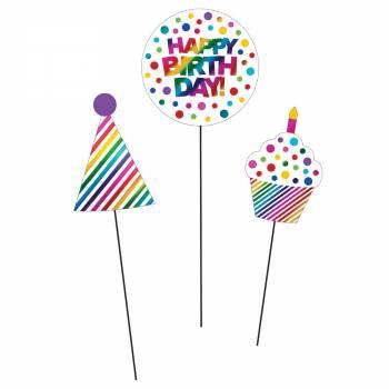 3 Sticks décor Happy Birthday rainbow foil