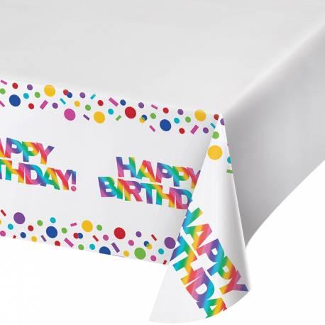 Nappe en plastique Happy Birthday Rainbow foil pour une décoration de table d'anniversaire Longueur: 259cm x 137cm