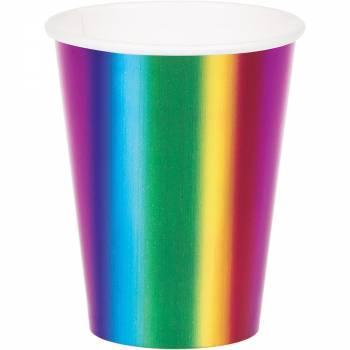 8 Gobelets Rainbow foil