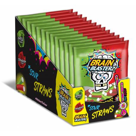 Sachet de bonbons à la fraise fourrés acidulés fondant Brain Blasterz Poids: 120gr