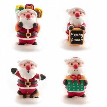 4 Père Noël en sucre assortis