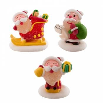 3 Père Noël jelly et sucre assortis