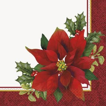16 Serviettes Fleur de Noël