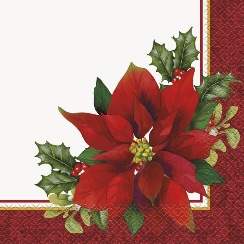 4 Poinsettia Design Noël Serviettes
