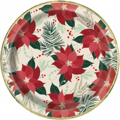 8 Assiettes en cartonPoinsettia gold pour une belle décoration de table de Noël traditionelle Dimensions: Ø23cm