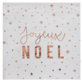 20 Serviettes Joyeux Noël gold rose