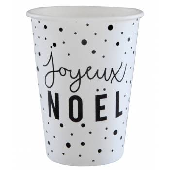 10 Gobelets Joyeux Noël black white