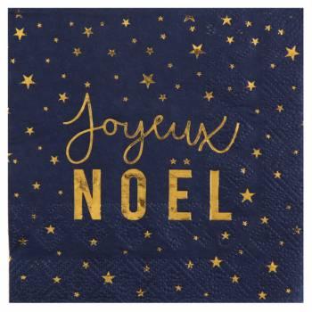 20 Serviettes Joyeux Noël bleu nuit