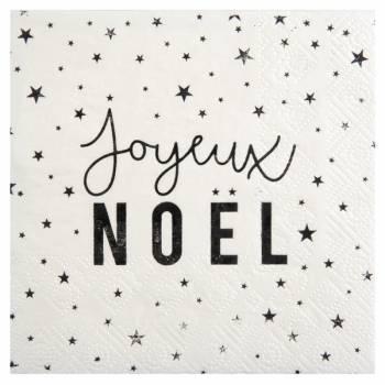 20 Serviettes Joyeux Noël black white