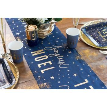 Chemin de table Joyeux Noël bleu nuit