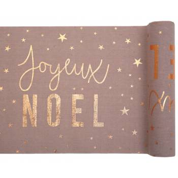 Chemin de table Joyeux Noël blush