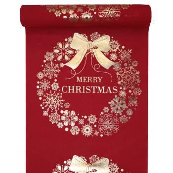 Chemin de table Merry Christmas rouge