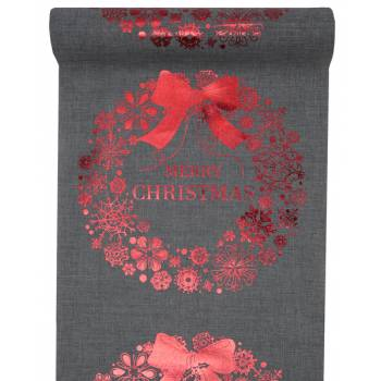 Chemin de table Merry Christmas gris