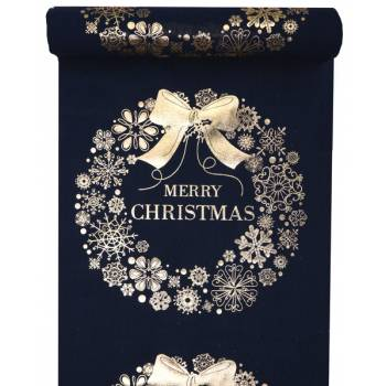 Chemin de table Merry Christmas bleu nuit