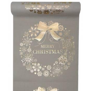Chemin de table Merry Christmas naturel