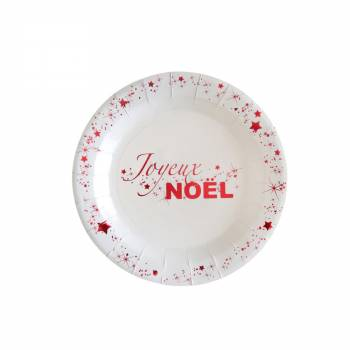 10 Assiettes dessert Joyeux Noël rouge