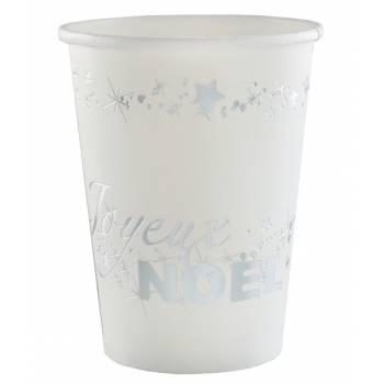 10 Gobelets Joyeux Noël blanc argent