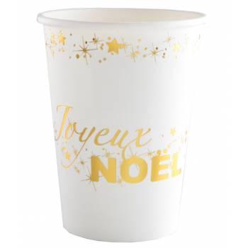 10 Gobelets Joyeux Noël blanc or