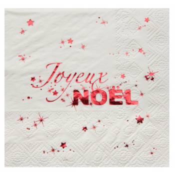 20 Serviettes Joyeux Noël blanche rouge