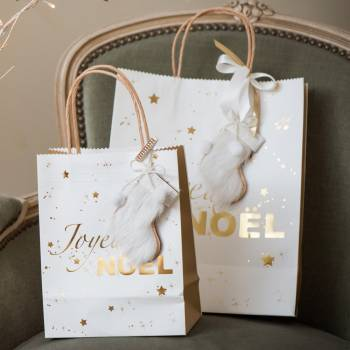 Sac cadeau Joyeux Noël blanc or 22cm