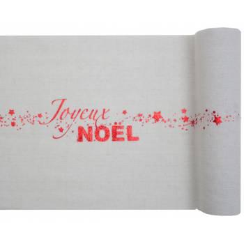 Chemin de table Joyeux Noël coton rouge