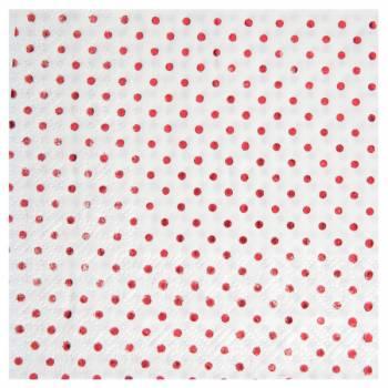 20 Serviettes pois métallisés rouge