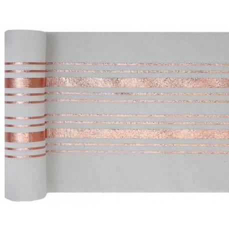 Chemin de table en coton blanc rayures en dorure à chaud cuivre pour une décoration de table de Noël, chic et sobre Dimensions : 28cm x...