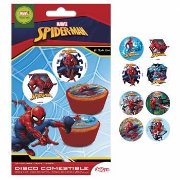 16 Mini disques en sucre Spiderman