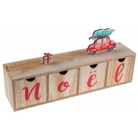 Boîte en bois 4 mini tiroir avec inscription NOEL, idéal pour une belle décoration de table de Noël moderne mais traditionnelle, vous...