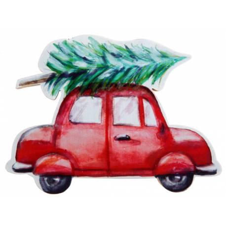 Décor de table voiture de Noël, idéal pour une belle décoration de table de Noël moderne mais traditionnelle Dimensions : 15 x 2 x 10 cm
