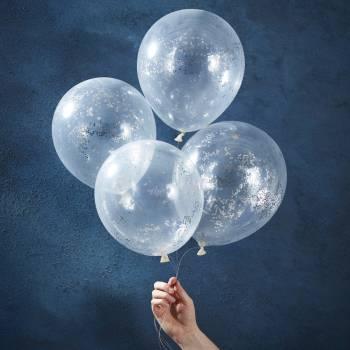 5 Ballons confettis étoiles argent