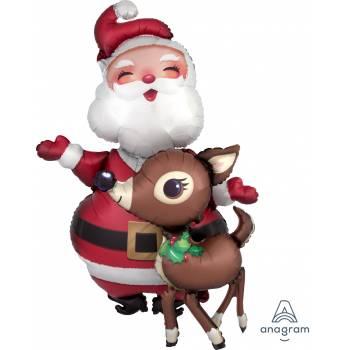 Ballon géant Airwalker Père Noël et Renne