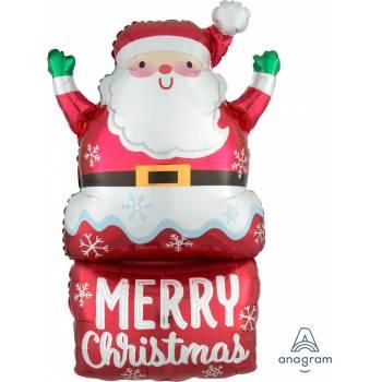 Ballon hélium géant Père Noël cheminée