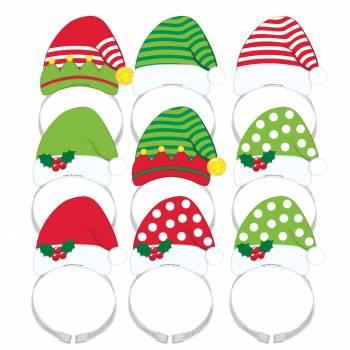 8 Serres têtes bonnet d'Elf et Père Noël