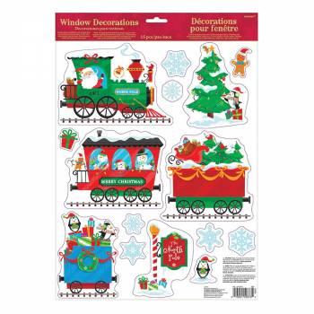 Stickers fenêtre train de Noël