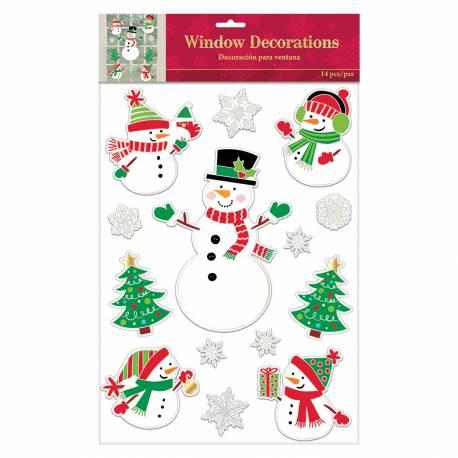 Planche de 15 stickers bonhomme de neige pour décorer vos fenêtres Se pose et s'enlève facilement sans laisser de traces Dimension de la...