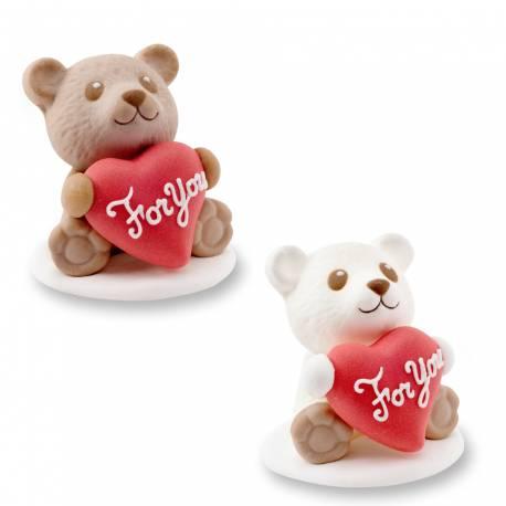 2 Oursons en sucre assortis en sucre idéal pour vos décoration de gâteaux pour la St Valentin ou la fête des mères