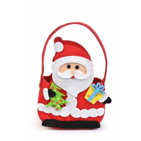Sac en forme de Père Noël en feutrine à garnir et à mettre au pied du sapin Dimensions : L14 x H18 x P7 cm