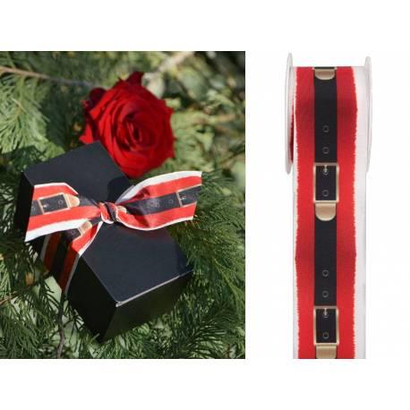 Bobine de ruban représentant une ceinture de Père Noël, idéal pour la décoration de table, l'emballage des cadeaux... Matière: polyester...