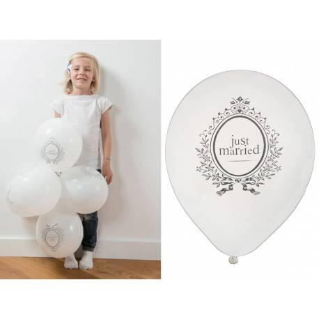 8 ballons latex impression just married Ø 23 cm