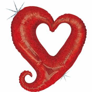 Ballon hélium chaîne de coeur rouge