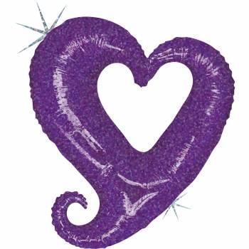 Ballon hélium chaîne de coeur violet