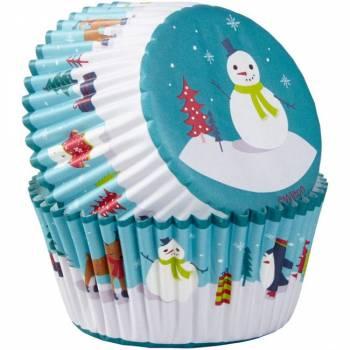 75 caissettes cupcakes bonhomme de neige Wilton
