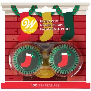 100 mini caissettes cupcakes botte Noël Wilton
