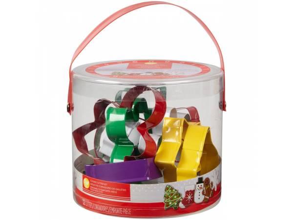 Seau 12 emporte pièces Noël assortis Wilton