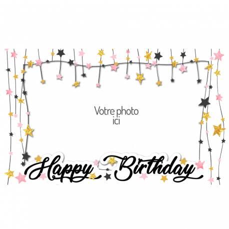 Feuille de sucre Etoiles à personnaliser avec vos photos personnels pour décorer vos gâteaux d'anniversaires. Taille A3 USA (28 cm x 43...