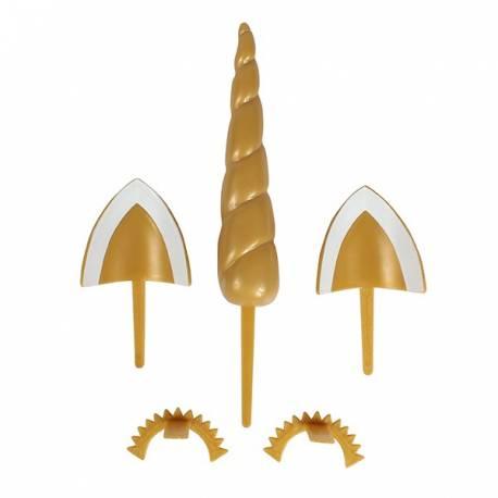 Kit permettant de donner à votre gâteau l'apparence d'une licorne Contient: la corne 11.5cm x 2.5cm, les oreilles 4.5 x 4.5cm et les...