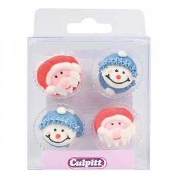 12 mini décors en sucre personnages Noël
